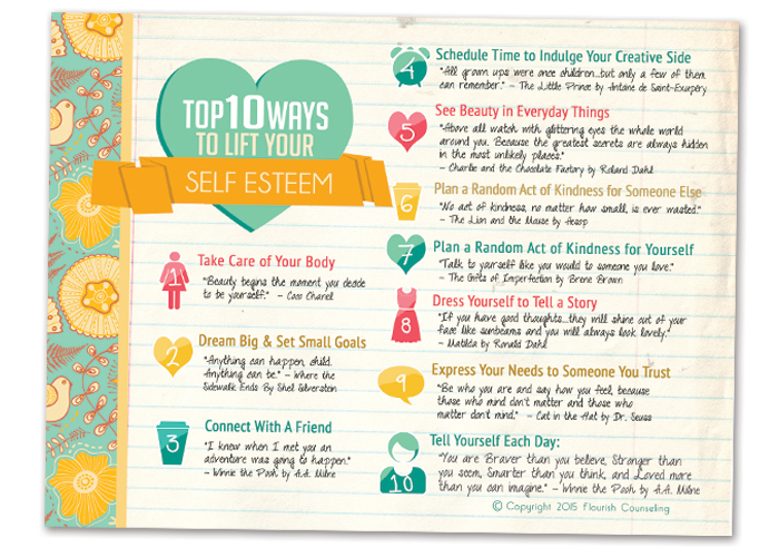 Free Printable: Top 10 Ways to Lift Your Self Esteem