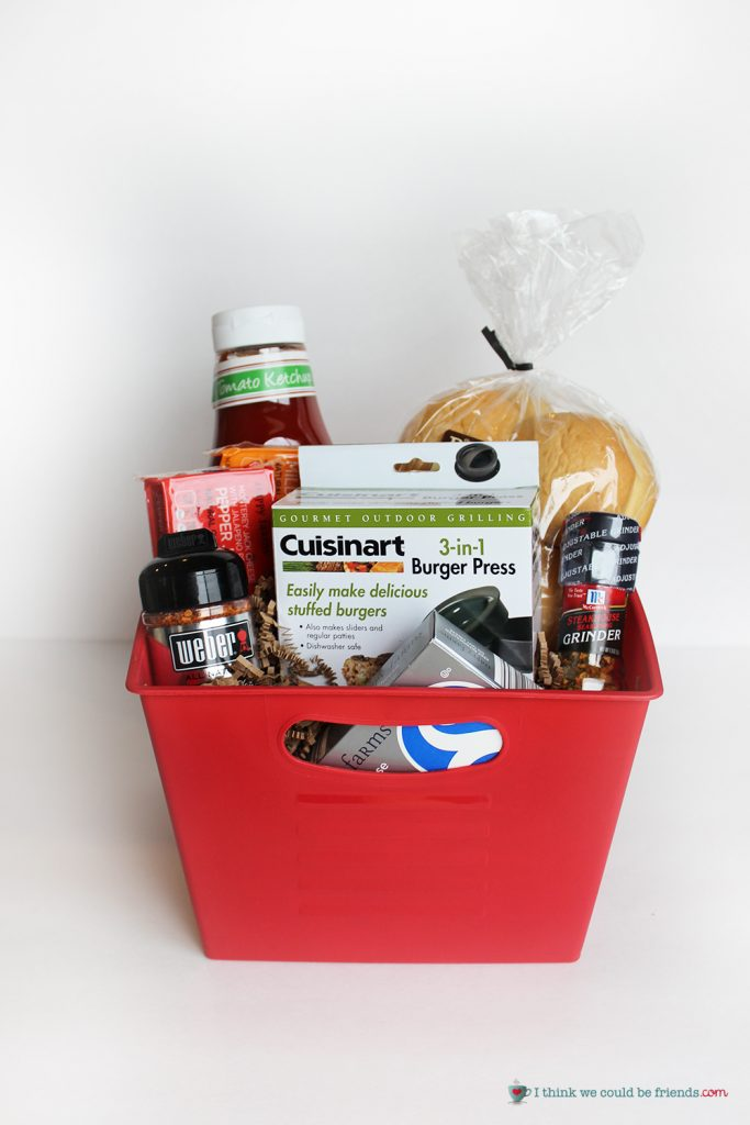 5 Creative Gift Baskets: A stuffed burger press is the centerpiece of this unique and fun holiday gift basket!