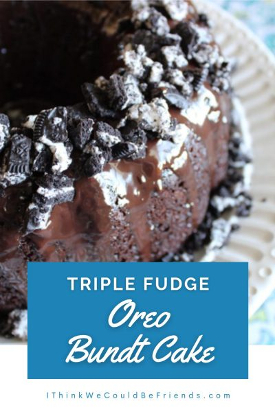triple fudge oreo bundt cake