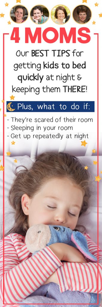 By the end of the day no one has energy for bedtime battles. Four moms share their best bedtime routine tips to get kids to bed quickly & to keep toddlers and older kids IN THEIR BED throughout the night!