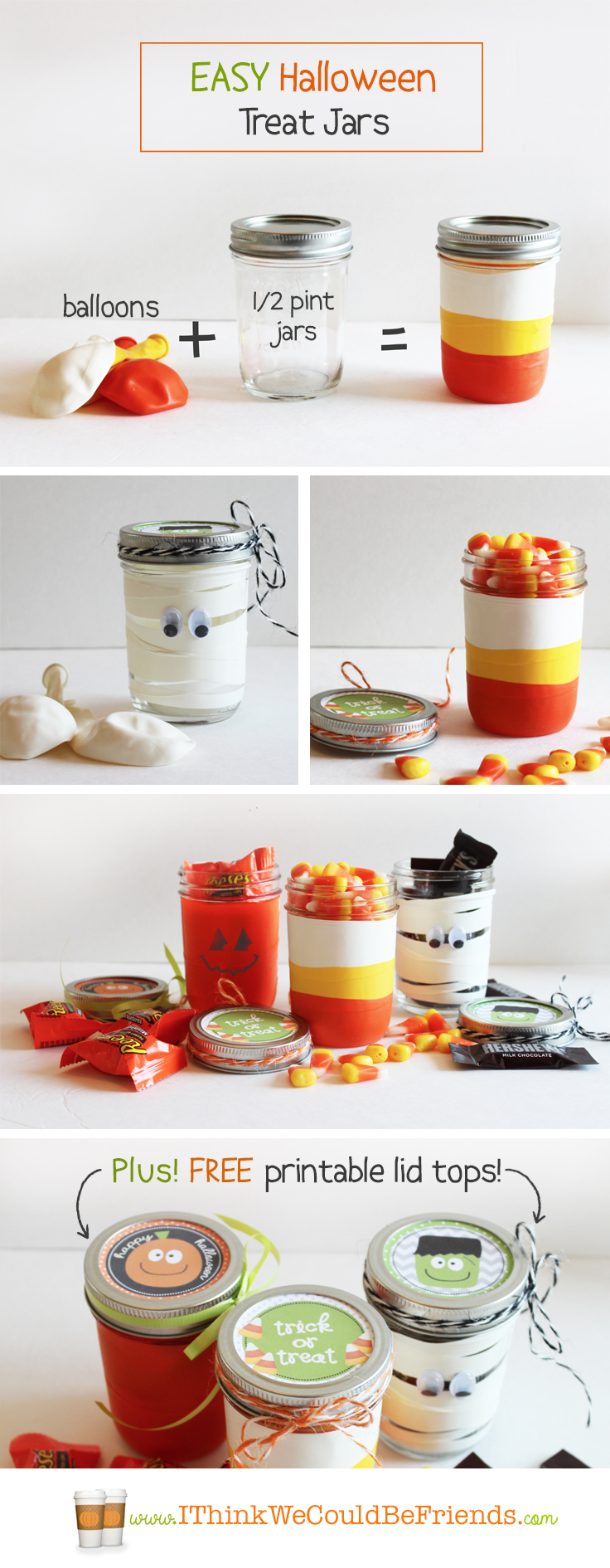 Easy Halloween Treat Jars: Just cut the tops & bottoms off of balloons & stretch over mason jars for cute Halloween treat jars! Plus FREE printable toppers! #Halloween #Mason #Jar #Crafts
