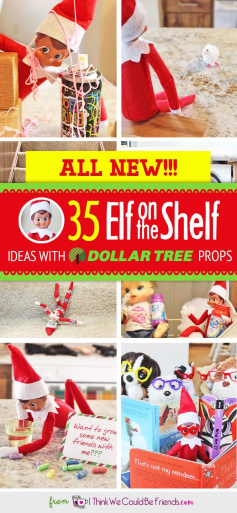 ALL NEW Elf on the Shelf ideas for this year!! The best NEW creative (EASY & funny) DIY Elf on the Shelf ideas for toddlers through teens each with a Dollar Tree prop! Many with FREE Christmas printable, too! #Christmas #ElfOnTheShelf #Ideas #Easy #Funny #Toddlers #DIY #DollarStore