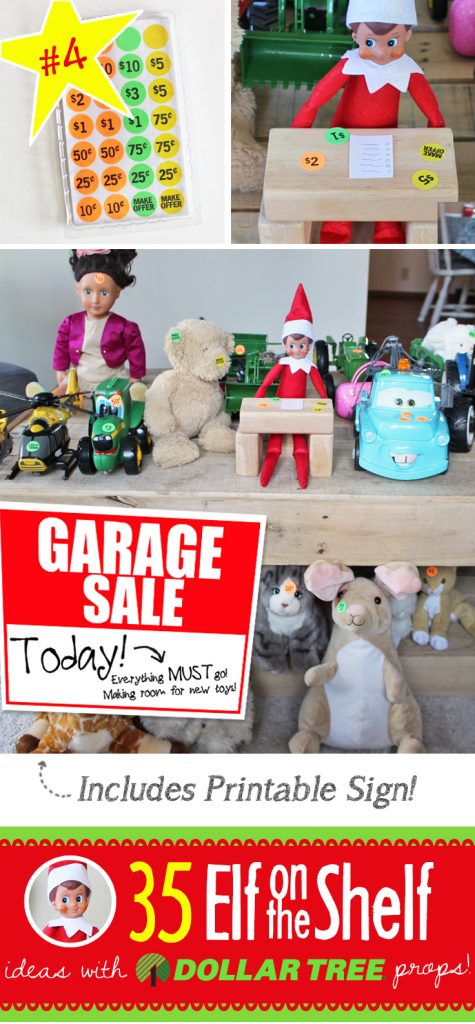 Elf is having a garage sale! Everything must go! And 55+ NEW Elf on the Shelf ideas for this year!! These fun, creative & EASY ideas all include an item from the Dollar Tree! #Christmas #ElfOnTheShelf #Ideas #Easy #Funny #Toddler #DIY #DollarStore #Printable