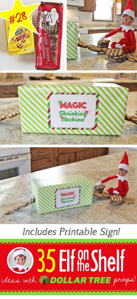 Whaat!?! A MAGIC SHRINKING MACHINE!?! How cool! It takes a few minutes to put together, but follow the step by step instructions with FREE printable and you're all set! You'll also find 55+ New Elf on the Shelf Ideas that are funny, quick & easy and perfect for toddlers through teens! #elfontheshelf #ideas #quick #easy #toddler # boy