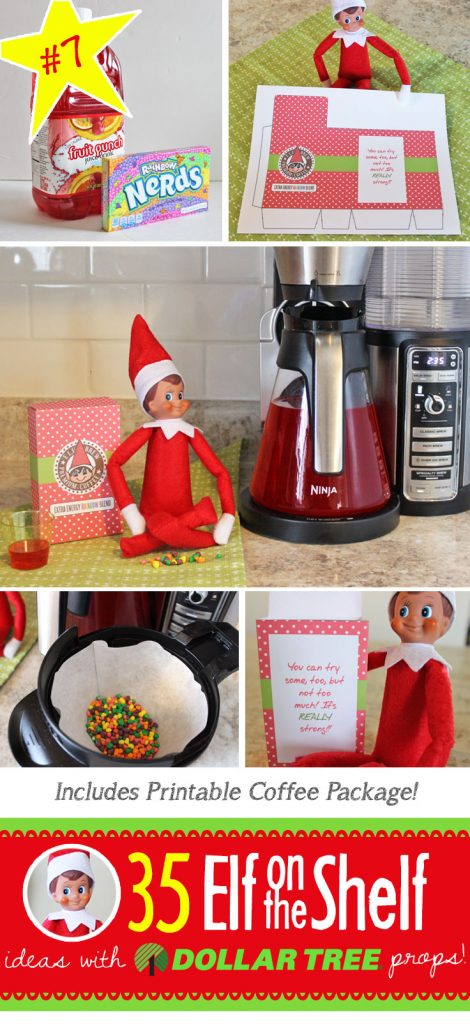 Whaaat!?! ELF COFFEE??? And it's red? I guess that makes sense!!! Find this idea and 55 (and growing) more NEW Elf on the Shelf ideas for this year! These fun, creative & EASY Elf on the Shelf ideas all include an item from the Dollar Tree! #New #ElfontheShelf #Ideas