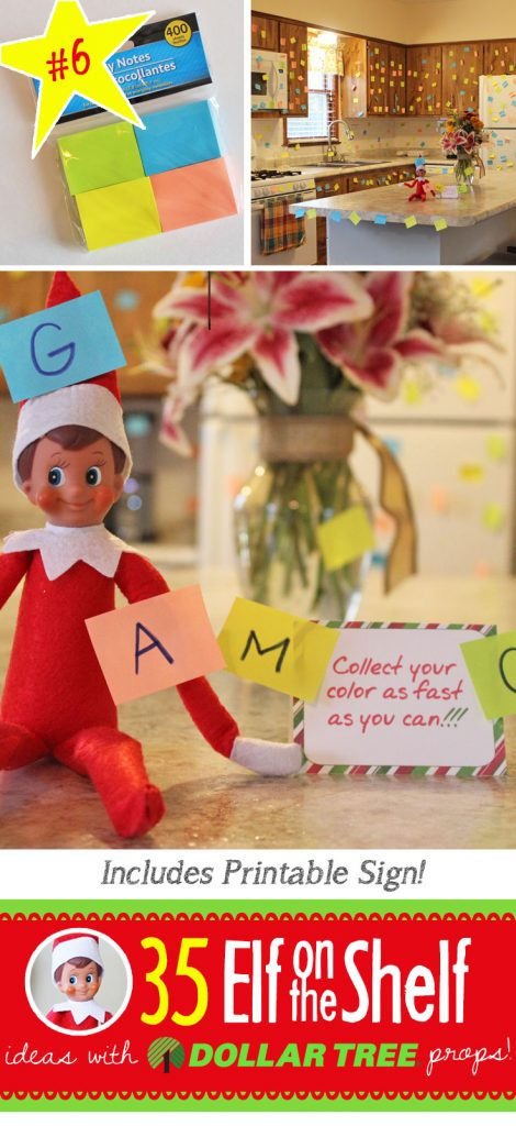 Sticky note game and 55+ NEW Elf on the Shelf ideas for this year!! These fun, creative & EASY ideas all include an item from the Dollar Tree! #Christmas #ElfOnTheShelf #Ideas #Easy #Funny #Toddler #DIY #DollarStore