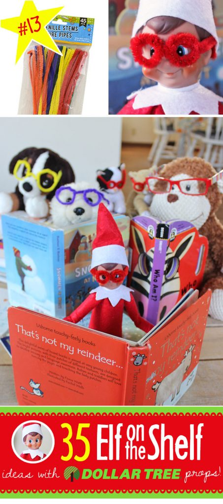 Pipe cleaner glasses! How cute! And 55+ BRAND NEW Elf on the Shelf ideas for this year! These fun, creative & EASY Elf on the Shelf ideas all include an item from the Dollar Tree! #Christmas #ElfOnTheShelf #Ideas #Easy #Funny #Toddler #DIY #DollarStore