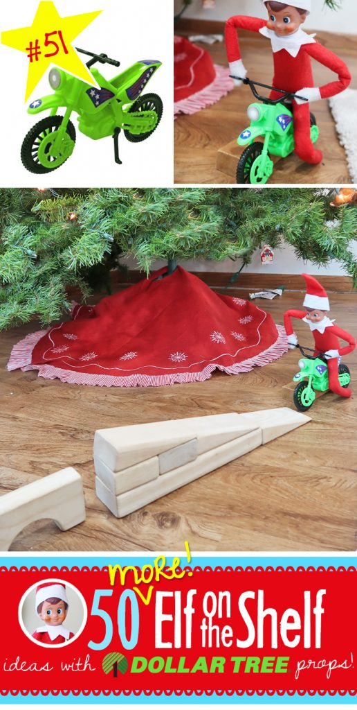 Daredevil Elf and 55+ Elf on the Shelf ideas with Dollar Tree props! We've expanded our list to be even bigger and better! #elfontheshelf #ideas #easy #quick #funny #toddler
