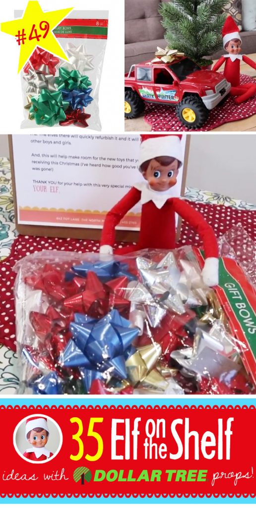 50+ NEW Elf on the Shelf Ideas, each with an item from the Dollar Tree! They are quick, easy and fun! And many have FREE printables!! #elfontheshelf #ideas #easy #quick #funny #toddler