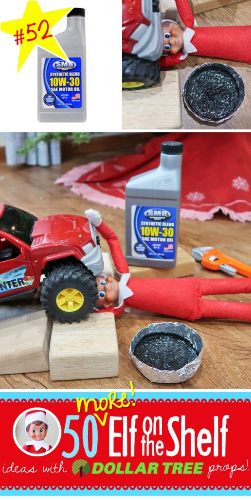 Wow! Elf on the Shelf went ALL out with this oil change! He even has an oil pan and real oil!! Find this and 55+ NEW ideas here, many with free printables!! #elfontheshelf #ideas #quick #easy