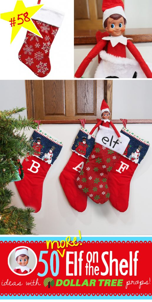 Oh my! Elf added HIS OWN stocking this year!! What a clever idea! Find this and over 55 more NEW ideas for your Elf on the Shelf!! #elfontheshelf #ideas #quick #easy #funny #toddler