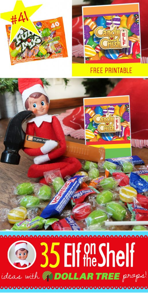40+ (and growing!) BRAND NEW Elf on the Shelf ideas for this year! These fun, creative & EASY Elf on the Shelf ideas all include an item from the Dollar Tree! #Christmas #ElfOnTheShelf #Ideas #Easy #Funny #Toddler #DIY #DollarStore
