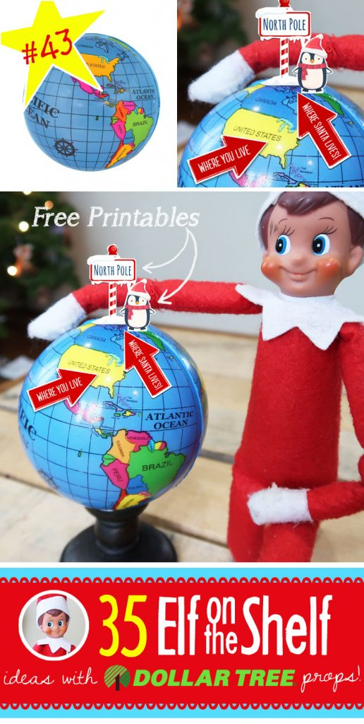 Where does Santa live??? Show your kids where your Elf on the Shelf is flying to each night in comparison to your house with this fun printable! Find this and 55 (and growing!) more NEW Elf on the Shelf ideas! Each with a Dollar Tree prop and many with FREE printables!! #elfontheshelf #ideas #easy #quick #funny #toddler #free #printable