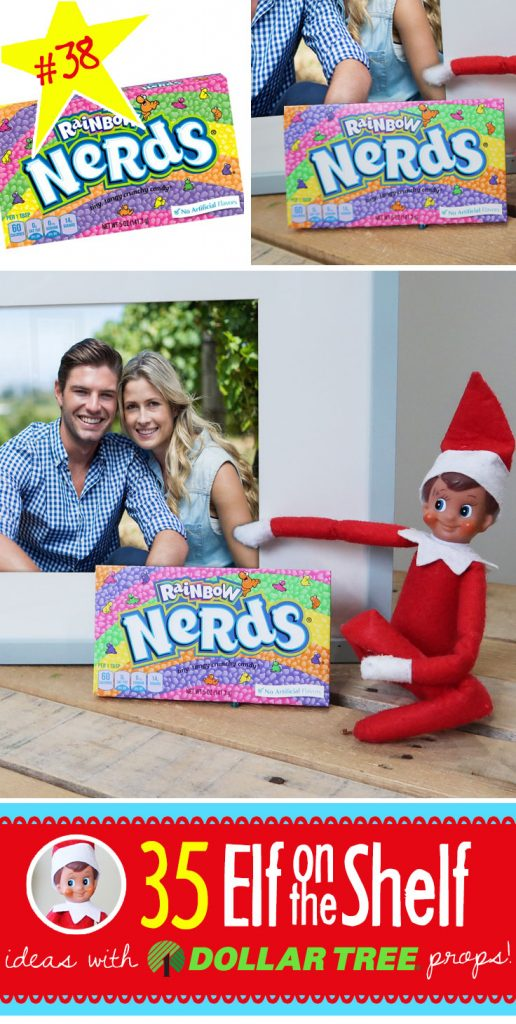 Nerds!?! True, but not very nice Elf!!! Click through for 55+ BRAND NEW Elf on the Shelf ideas for this year! These fun, creative & EASY Elf on the Shelf ideas all include an item from the Dollar Tree! #Christmas #ElfOnTheShelf #Ideas #Easy #Funny #Toddler #DIY #DollarStore