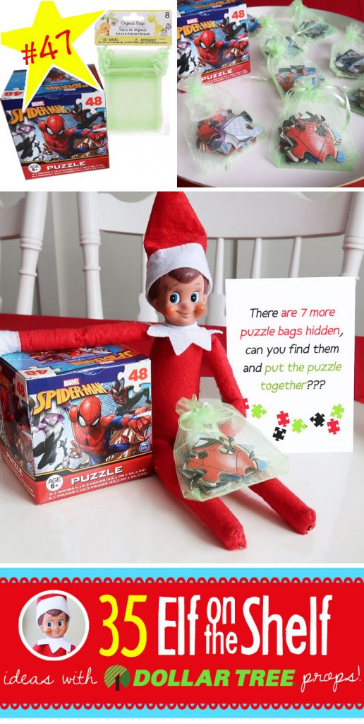 Puzzle Hunt! Divide up the pieces of a puzzle into these little favor bags and hide them! Your kids will love finding them and putting the puzzle together!! And, 55+ BRAND NEW Elf on the Shelf ideas for this year! These fun, creative & EASY ideas all include an item from the Dollar Tree! #Christmas #ElfOnTheShelf #Ideas #Easy #Funny #Toddler #DIY #DollarStore