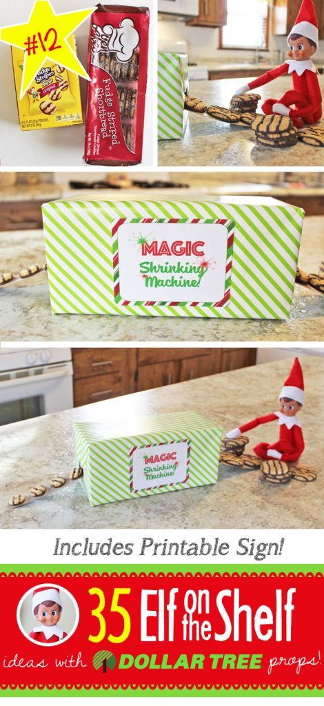 Magic Shrinking Machine! Big cookies go in and little ones come out!!! Find the free printable and 55+ NEW Elf on the Shelf ideas for this year! These fun, creative & EASY ideas all include an item from the Dollar Tree! #Christmas #ElfOnTheShelf #Ideas #Easy #Funny #Toddler #DIY #DollarStore