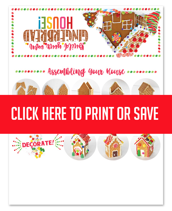 DIY Gingerbread House Kit! Includes decorations, gingerbread house ideas and a free printable topper! Each kit makes to graham cracker gingerbread houses. Host a party or give them out to friends & family! #gingerbread #house #kit #ideas #decorations