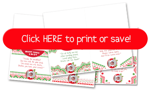 New! Super easy & quick Elf on the Shelf Ideas for when time is short! Have these FREE printable clues on hand for when you need a fast idea! #Elf #Shelf #Ideas #New #Quick #Easy #Funny