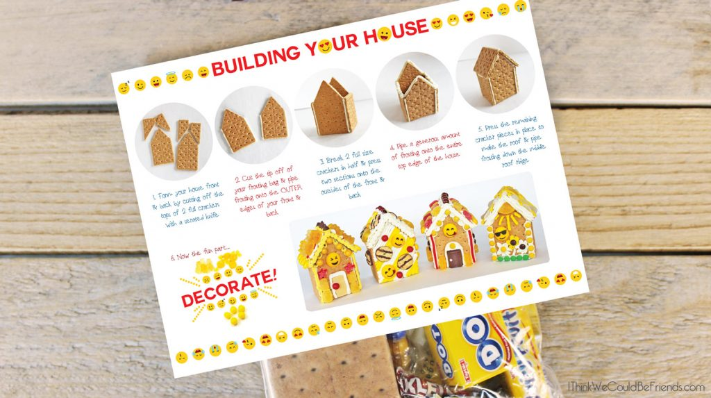 Looking for a fun Emoji Birthday Party idea? Our kids LOVED these Emoji Gingerbread Houses! They are just made from graham crackers and are EASY to make! Also includes a free printable bag topper to make your own Emoji Gingerbread House Build & Decorate kits! #Emoji #Birthday #Party #Ideas #Gingerbread #House #Decorations #Christmas