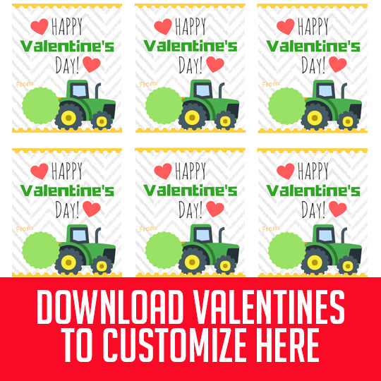 The John Deere fan in your house will LOVE these free printable John Deere Valentine's! Easy directions to customize them with your child's picture and name or just print the blank ones, they're free either way!! Our boys are SO excited to give these tractor valentine's out at school! #free #printable #john #deere #tractor #valentines #boys #kids #deer #customizable #loader #boy #green #heart