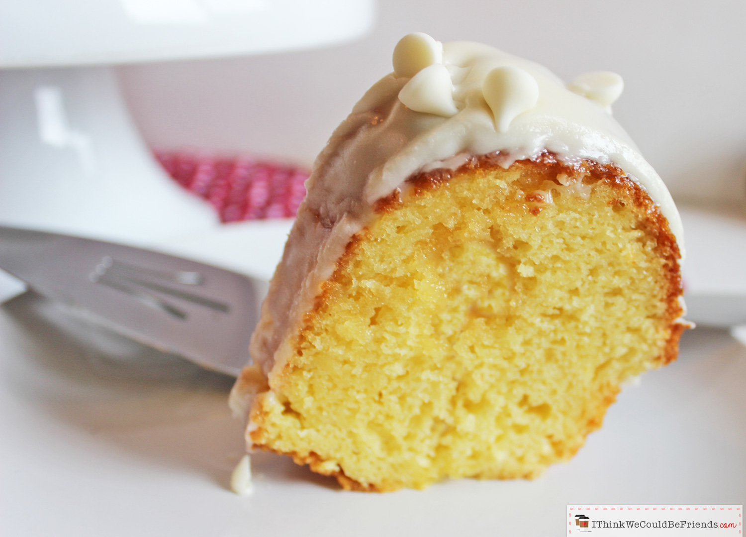 This the BEST & EASIEST White Chocolate Vanilla Bundt Cake recipe that you'll ever try! It starts with a yellow boxed cake mix, BUT then you add sour cream and a pudding mix, it looks FANCY and tastes MOIST and INCREDIBLE! Your guests will rave and will ask for the recipe (so bring copies!) #white #chocolate #vanilla #bundt #cake #recipe #mix #yellow #best #easy #quick #moist