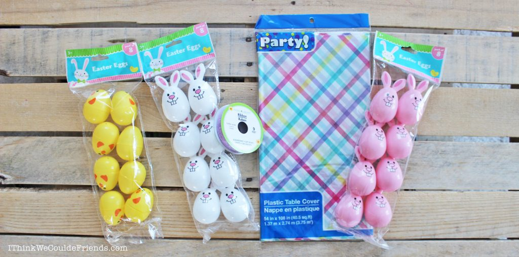 DIY Easter Egg Garland Decoration - a quick & easy Easter Craft made with items from the Dollar Tree! The best part is: virtually NO MESS, complete it in 15 MINUTES for $5 OR LESS! Now that is my idea of a great Easter Egg Craft!!! #diy #easter #egg #decoration #craft #garland #quick #easy #dollartree #cheap #kids