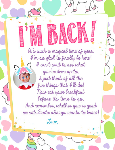 New this year! Unicorn Breakfast Arrival Letter from the complete index of FREE printable Elf on the Shelf Arrival Letters, updated daily, with NO dead links! Happy Elf Arrival! #elfontheshelf #arrival #ideas #letter #free #printable #quick #easy #funny #toddler #unicorn