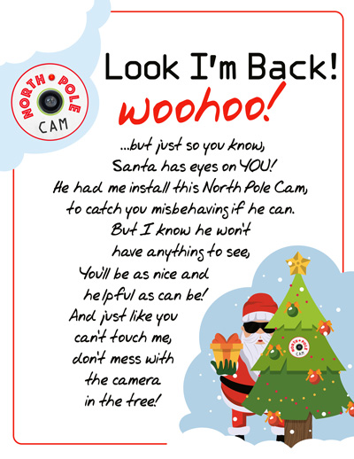 Elf on the Shelf Arrival Idea: DIY Northpole Cam with a FREE Printable arrival letter!
