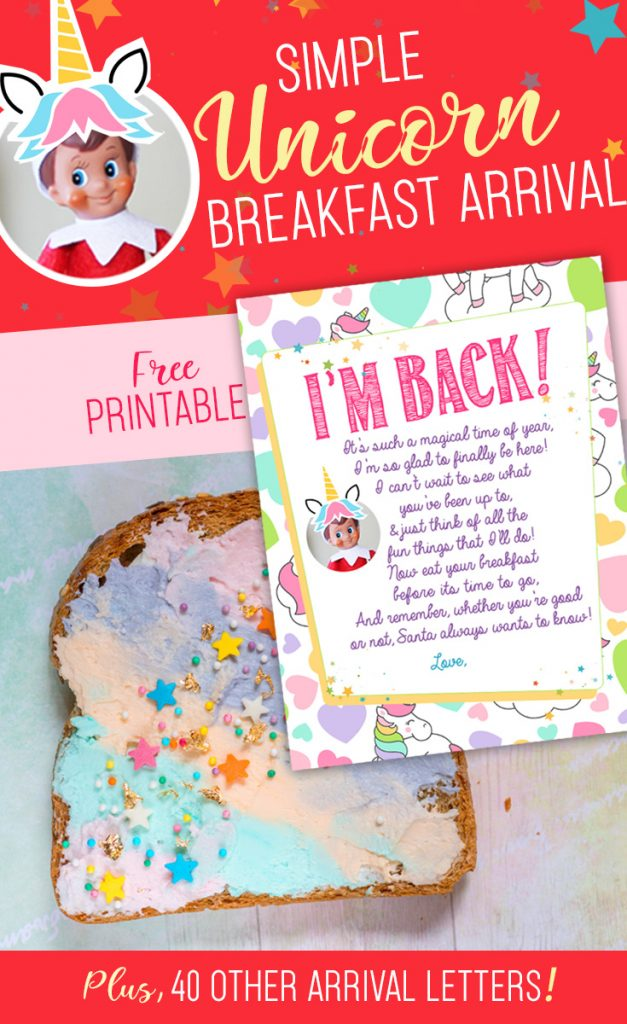 Elf on the Shelf Arrival Idea: Unicorn Breakfast with FREE Printable Letter! This is an EASY and fun way to welcome your Elf back this Christmas! #elfontheshelf #arrival #ideas #unicorn #christmas #letter #free #printable #elf #easy #quick #funny