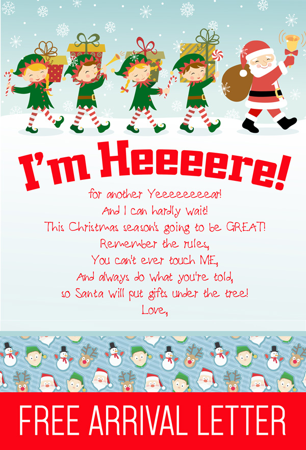 FREE Printable Elf on the Shelf Arrival Letter! A quick and EASY way to announce your Elf on the Shelf's arrival! #elfontheshelf #arrival #letter #ideas #quick #easy #funny #christmas #elf #shelf