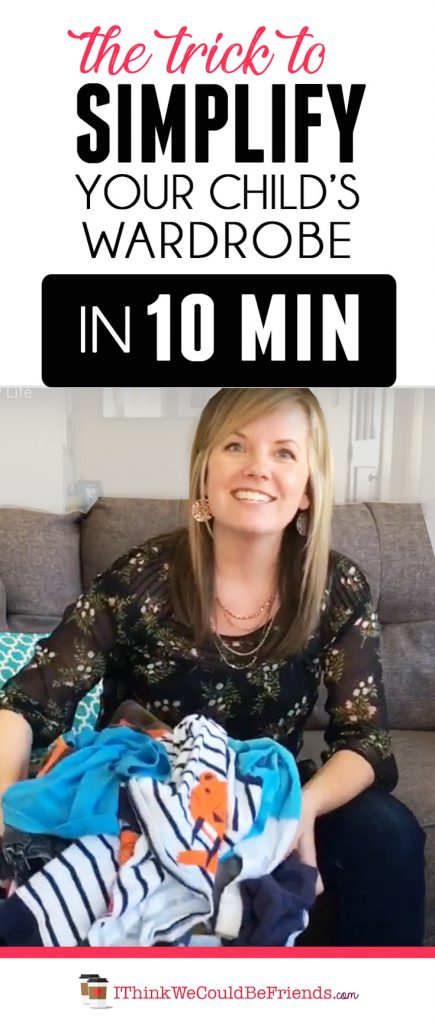 Here is a trick to simplify your child's clothes in 10 minutes (no matter how big it is!) Plus, a few other tips to keep kids clothes organized and under control in your house (and why we don't worry about a capsule wardrobe for kids)! You can watch the video or read about this system for kids clothes! #kids #childrens #clothes #tips #trick #hacks #simplify #organize #wardrobe #minimalist #capsule