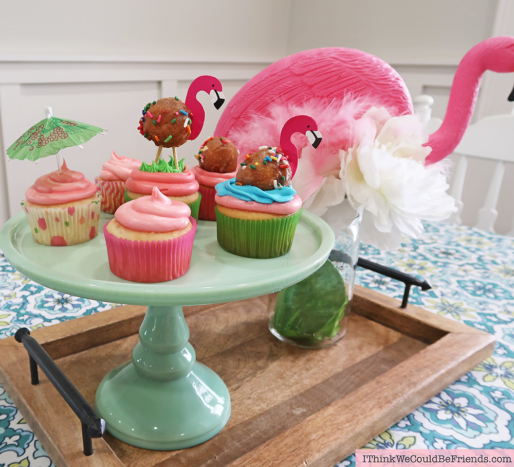 Super fun Flamingo Cupcakes! Cheap but TASTEFUL Flamingo Party Decoration Ideas, using ALL items from the Dollar Tree! We hosted a beuatiful Flamingo Baby Shower for my sister that didn't break the bank!!! Everyone LOVED the flamingo theme and especially the DIY Tropical Balloon Garland, includes a FREE printable, too! #flamingo #cupcakes #party #decoration #ideas #free #printable #cheap #easy #baby #shower #bridal #kids