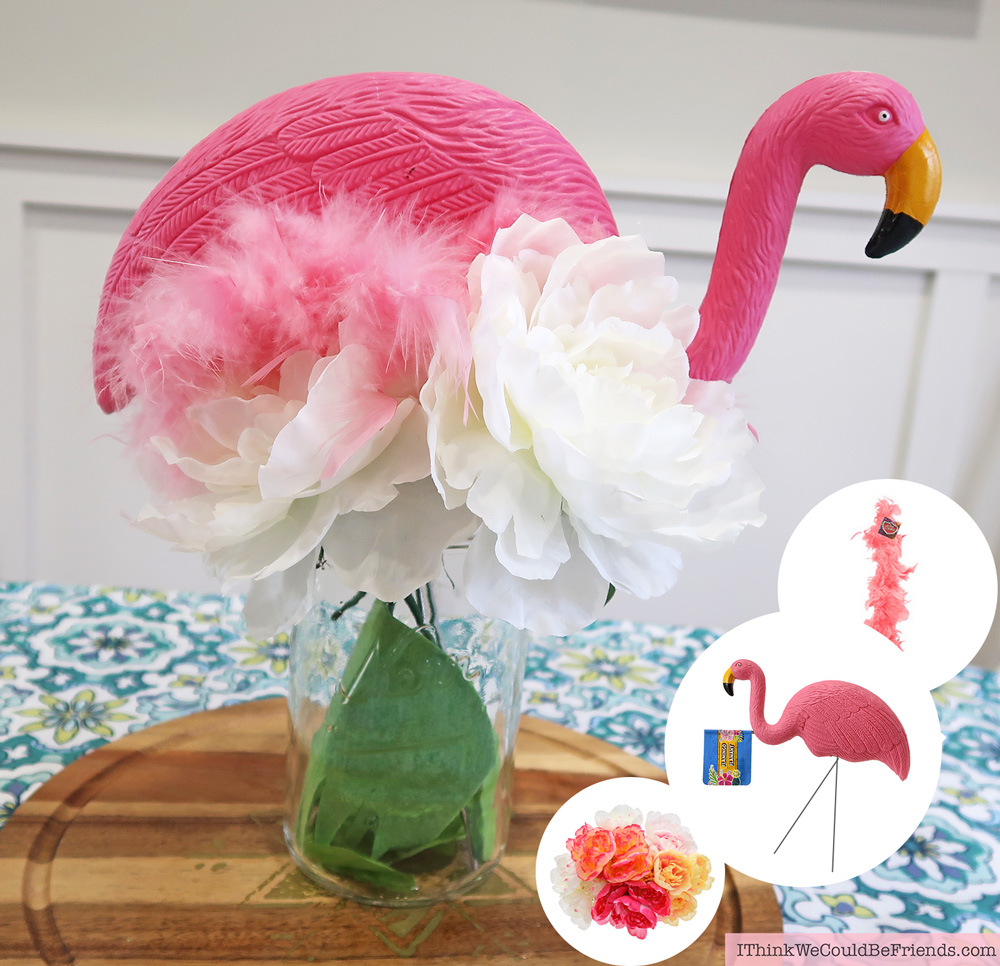 Cheap but TASTEFUL Flamingo Party Decoration Ideas, using ALL items from the Dollar Tree! We hosted a beautiful Flamingo Baby Shower for my sister that didn't break the bank!!! Everyone LOVED the flamingo theme and especially the DIY Tropical Balloon Garland, flamingo cupcake topper and a FREE printable! #flamingo #party #decoration #ideas #cupcake #topper #free #printable #cheap #easy #baby #shower #bridal #kids