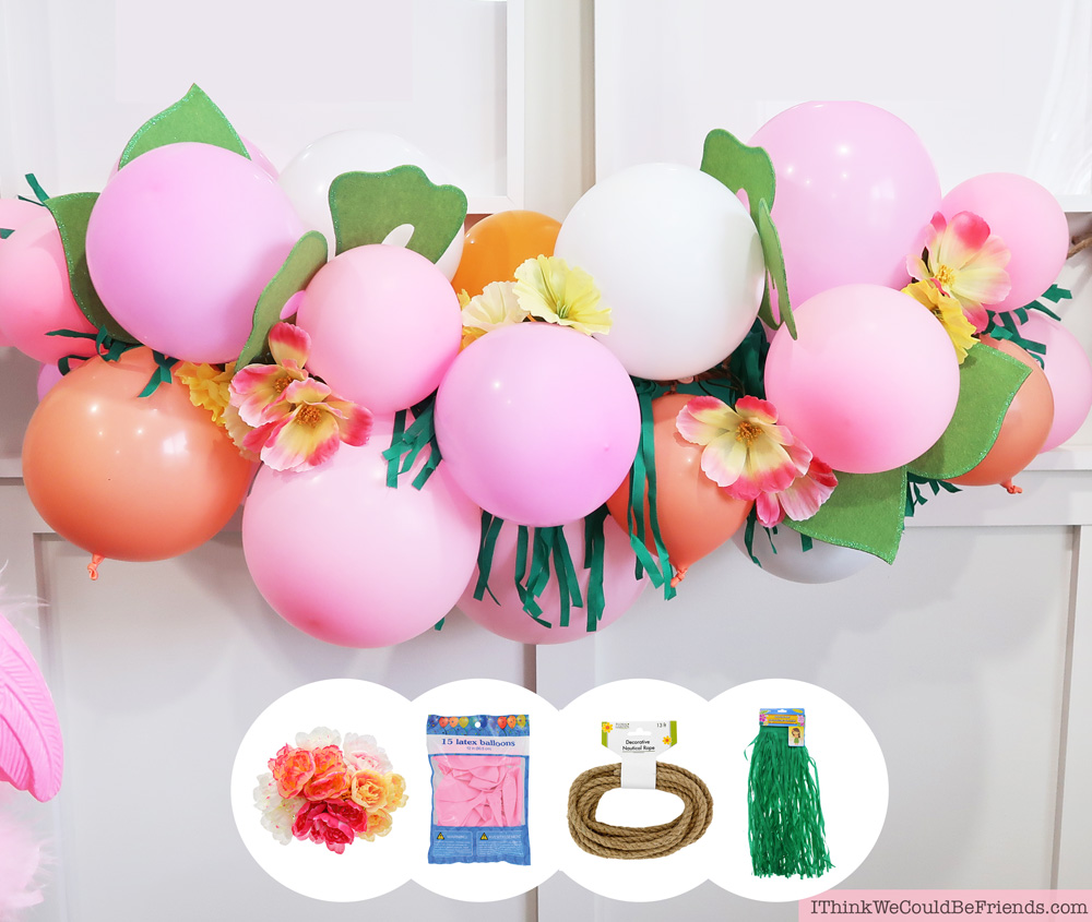 DIY Tropical Balloon Garland! Cheap but TASTEFUL Flamingo Party Decoration Ideas, using ALL items from the Dollar Tree! We hosted a beautiful Flamingo Baby Shower for my sister that didn't break the bank!!! Everyone LOVED the flamingo theme and especially the DIY Tropical Balloon Garland, flamingo cupcake topper and a FREE printable! #flamingo #party #decoration #ideas #DIY #balloon #garland #free #printable #cheap #easy #baby #shower #bridal #kids