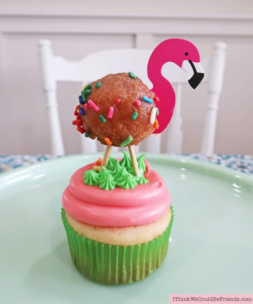 Super fun Flamingo Cupcake topper! Cheap but TASTEFUL Flamingo Party Decoration Ideas, using ALL items from the Dollar Tree! #flamingo #cupcake #topper #party #decoration #ideas #free #printable #cheap #easy #baby #shower #bridal #kids