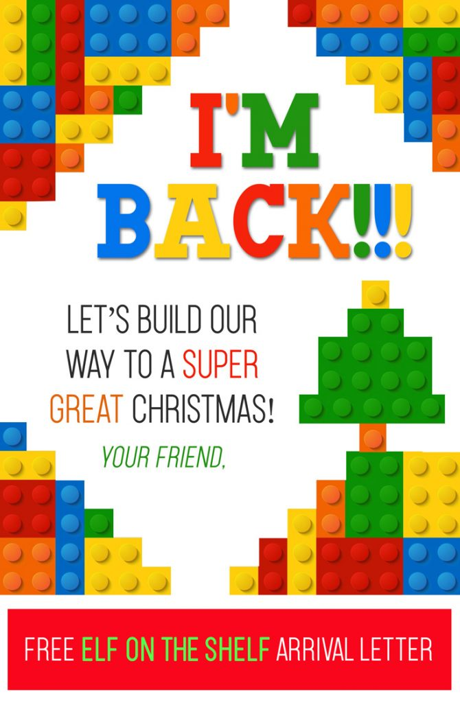 Free Printable Elf on the Shelf Lego arrival letter! This is a fun, quick & easy way for your Elf to arrive and your kids will LOVE it!! #elfontheshelf #arrival #ideas #free #printable #letter #legos #boys #kid #quick #easy #kids