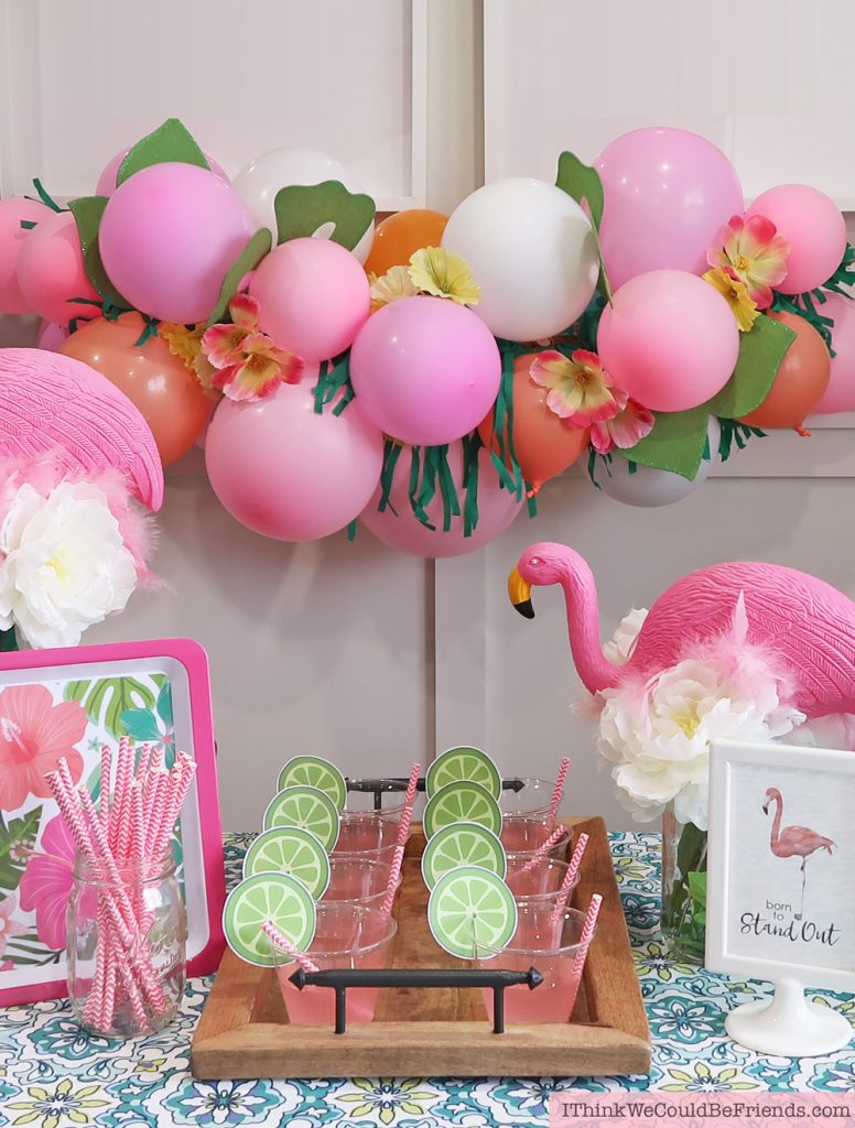 Flamingo Party theme all with Dollar Tree decoration