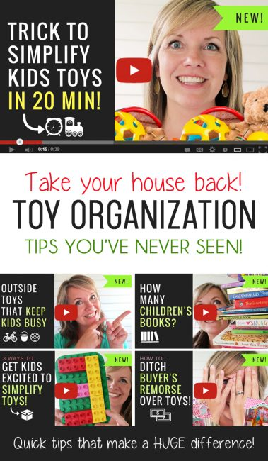 You'll love her personality and these are seriously the best tips on organizing kids toys that I've ever seen! The videos are short and to the point, but packed with tips and ideas to simplify toys so kids play better and longer. Plus, ideas to get kids to LOVE playing outside and so much more! I love her toy storage, too! #toy #organization #kids #storage #ideas #childrens #room #declutter #toystorage