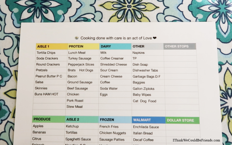 Meal Planning Worksheet Free Printable