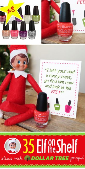 Super FUNNY Nail Polish prank for your Elf on the Shelf, PLUS 55 (and growing!) NEW Elf on the Shelf Ideas! Quick, easy, funny and each with a Dollar Tree prop, many with free printables like this one!! #elfontheshelf #ideas #easy #funny #toddler #free #pritnable