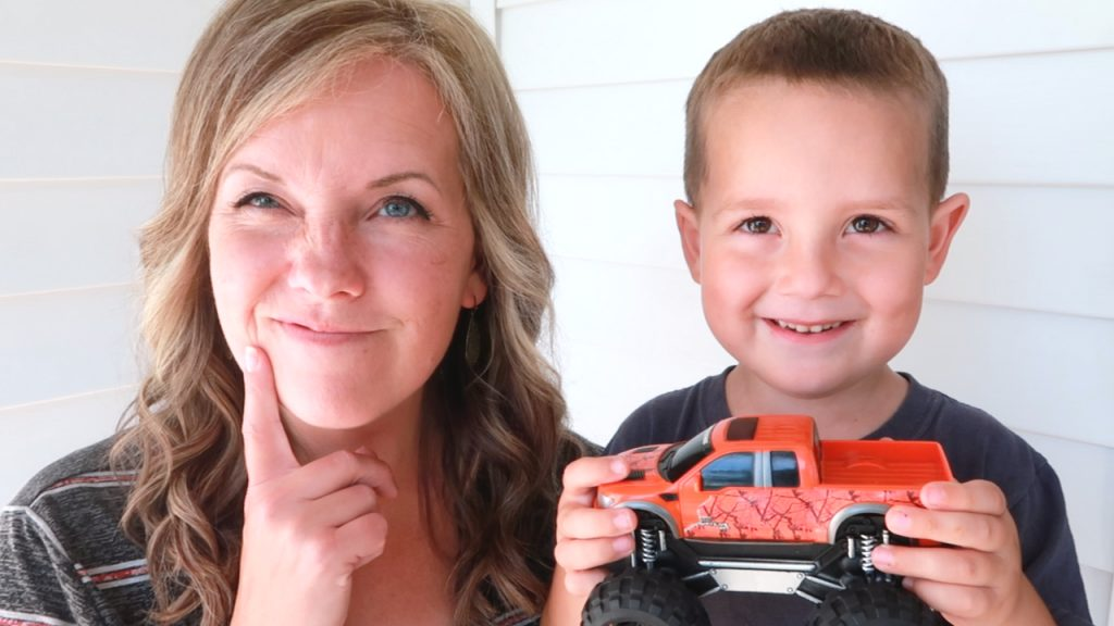 Dawn and Gage with toy