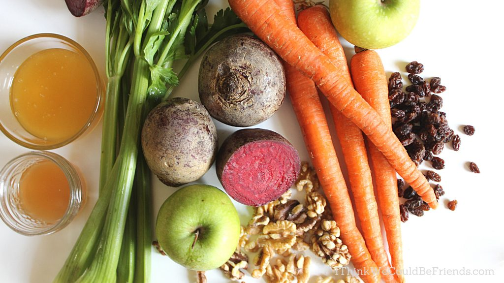 Apple Beet Carrot Celery salad ingredients