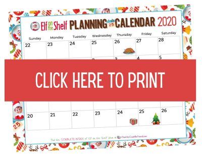 2020 Elf on the Shelf Planning Calendar