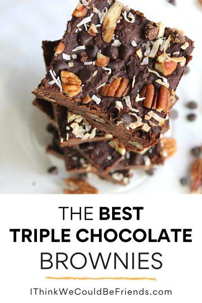 triple chocolate brownies, pin