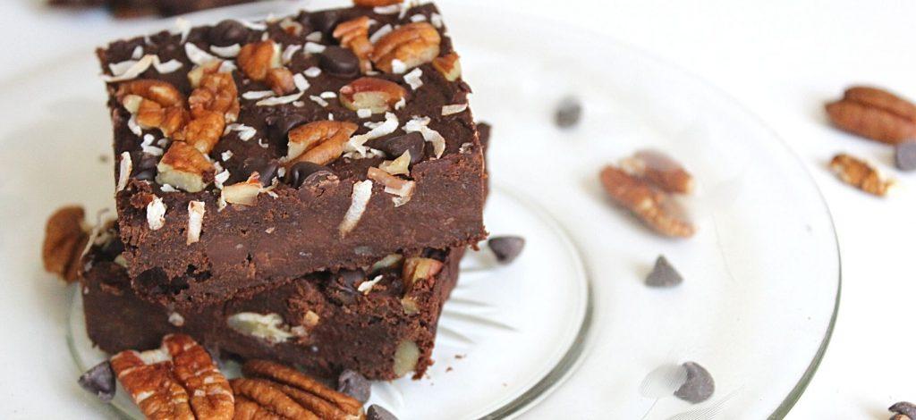 triple chocolate brownies on plate