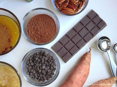 brownies ingredients, flat lay