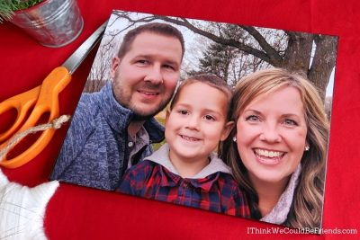 diy canvas photo of tom & dawn with child