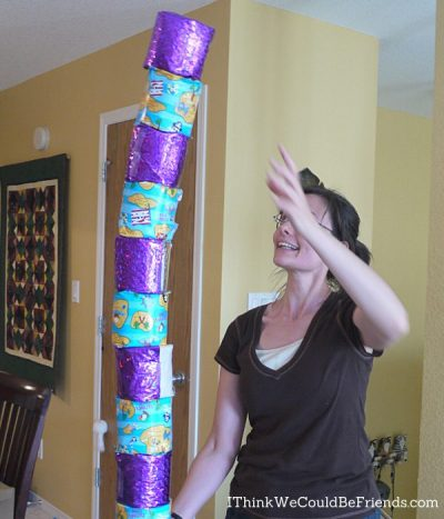 tower of wrapped toilet paper
