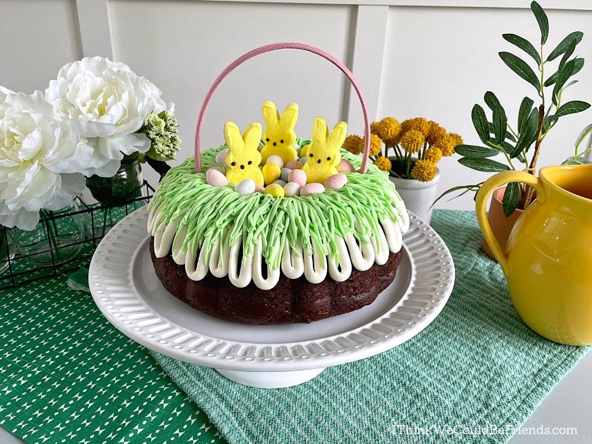 easter basket Bundt Cake with table decor