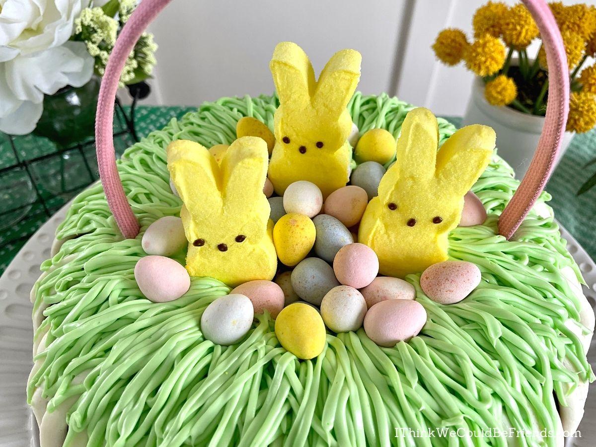 easter basket Bundt Cake with bunnies